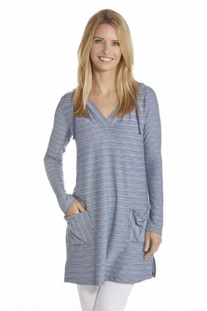 Coolibar---UV-Dress-with-V-neck-and-hood-women---DarkBlue/White