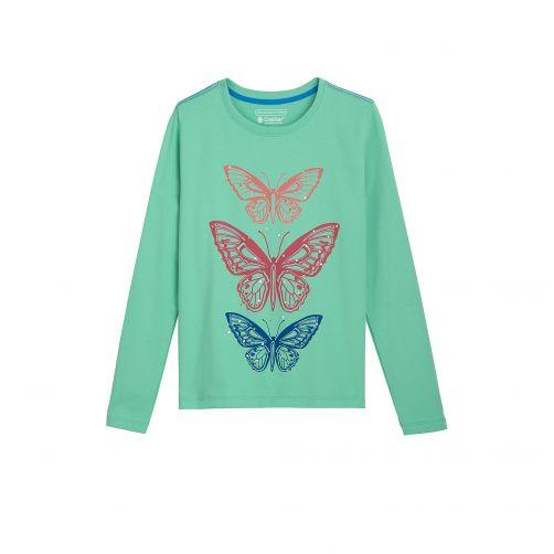 Coolibar---UV-shirt-for-kids---butterflies---green