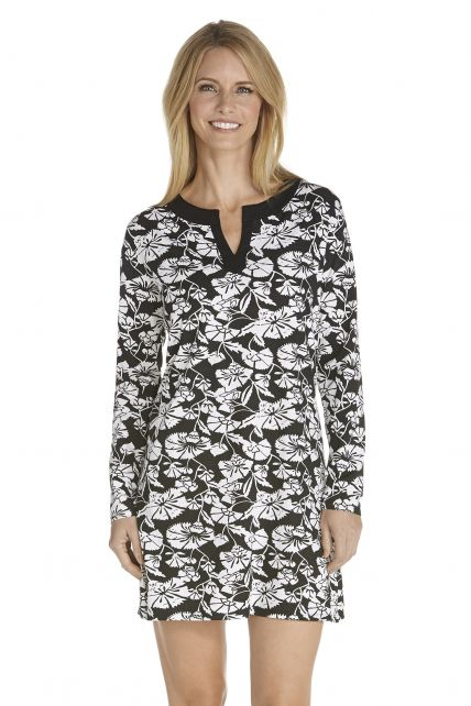 Coolibar---UV-Cabana-beach-dress-floral---black/white