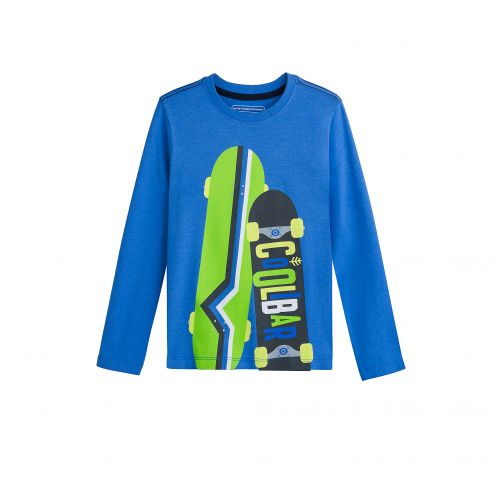 Coolibar---UV-shirt-for-kids---skateboards---blue