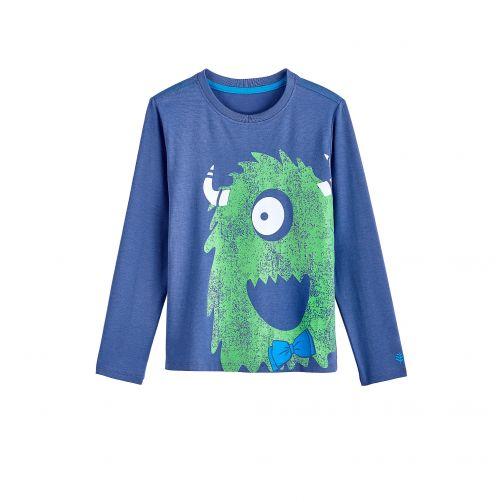 Coolibar---UV-shirt-for-children-longsleeve---Green-monster-blue