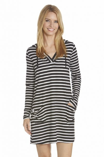 Coolibar---UV-Beach-dress-with-V-neck-women---Black/White