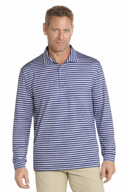 Coolibar---Long-Sleeve-Golf-Polo---Cobalt-stripe