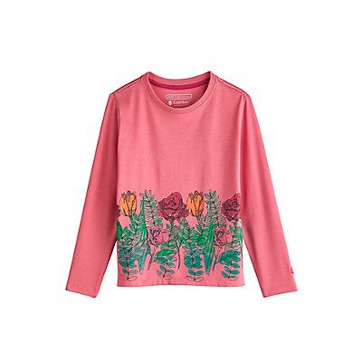 Coolibar---UV-shirt-for-kids---flower-garden---pink