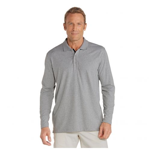 Coolibar---UV-polo-shirt-for-men-longsleeve---Grey-heather