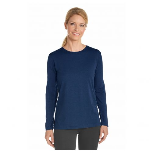 Coolibar---UV-longsleeve-shirt-for-women---Navy-blue