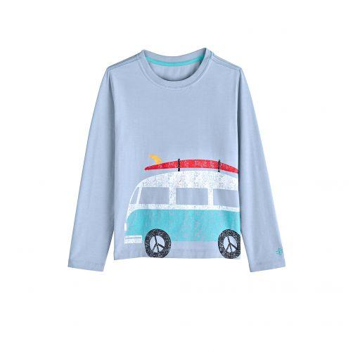 Coolibar---UV-shirt-for-children-longsleeve---Bus-vintage-blue