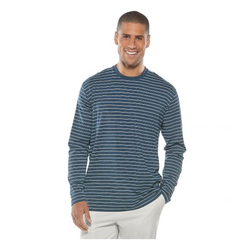 Coolibar---Men's-UV-shirt-long-sleeve---blue-white-striped
