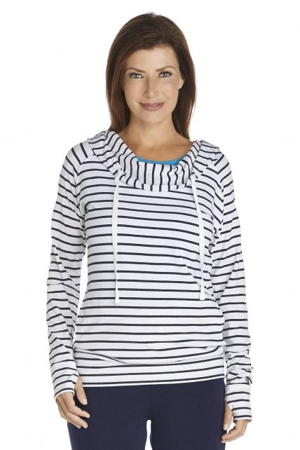 Coolibar---Cowl-Neck-Pullover---navy/white-stripe