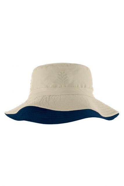 Coolibar---UV-bucket-hat-for-children---Stone-beige-/-navy-blue