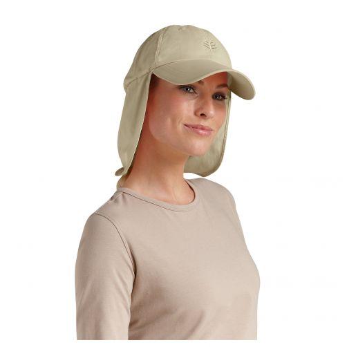 Coolibar---UV-sun-cap-with-neck-flap-unisex--Tan
