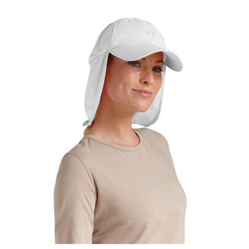 Coolibar---UV-sun-cap-with-neck-flap-unisex--White