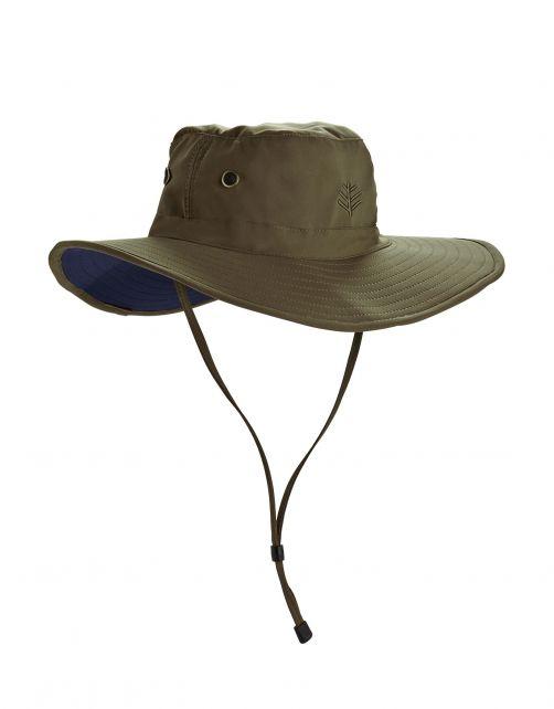 Coolibar---Shapeable-Wide-Brim-UV-Hat-for-men---Leo---Khaki/Navy