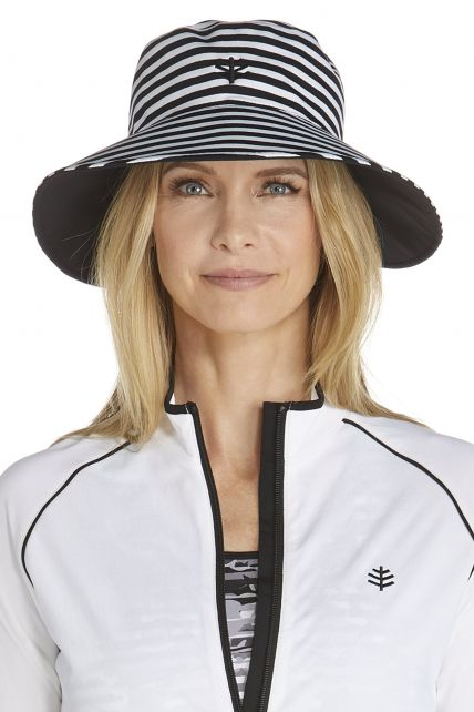 Coolibar---Reversible-UV-Pool-Hat---black/white-stripe
