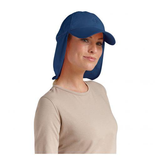 Coolibar---UV-sun-cap-with-neck-flap-unisex--Navy-blue