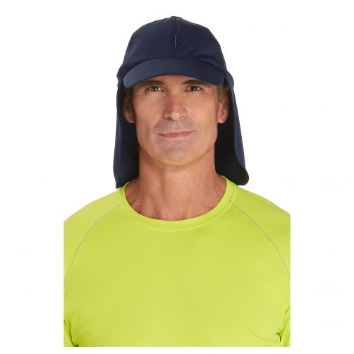 Coolibar---UV-sun-cap-with-neck-flap-unisex--Dark-blue