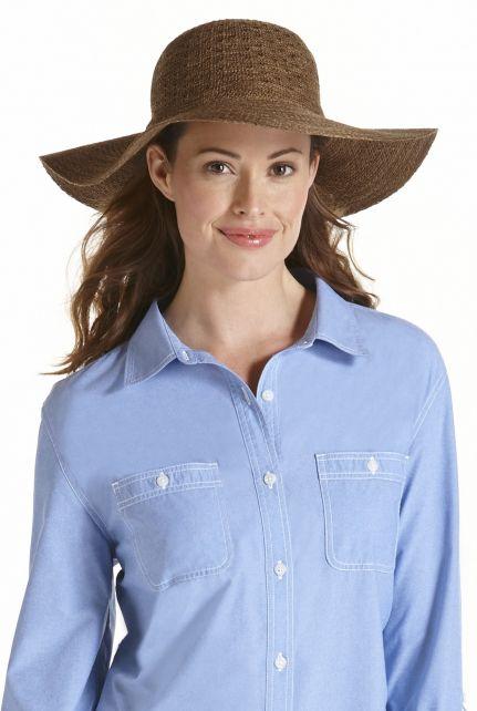 Coolibar---UPF-50+-Women's-Packable-Wide-Brim-Sun-Hat--Brown