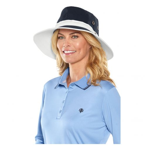 Coolibar---UV-hat-for-men---Two-colours:-blue-and-white