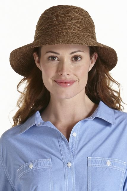 Coolibar---Packable-UV-Beach-Bucket-Hat---Brown