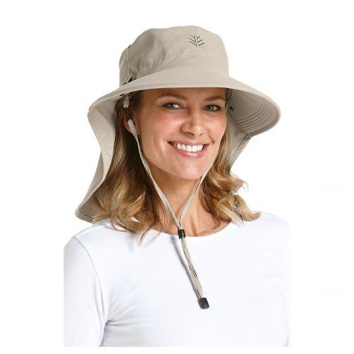 Coolibar---UV-sun-hat-for-women-with-neck-/-face-drape---Stone-beige