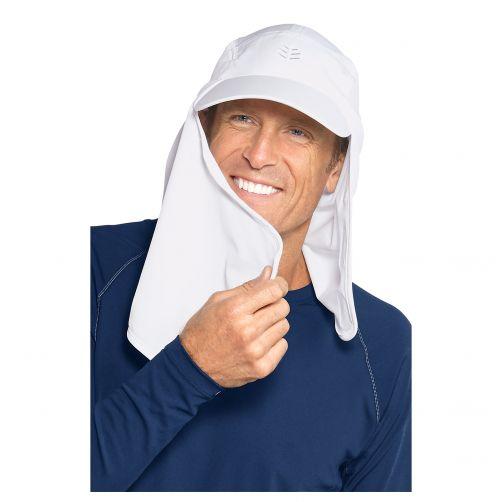 Coolibar---UV-sun-caps-for-men---Face-and-neck-drape---White