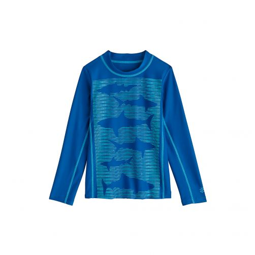 Coolibar---UV-swim-shirt-for-children---School-of-Sharks-blue