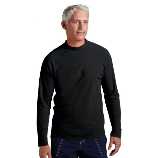 Coolibar---Men's-UV-swimshirt---long-sleeve---Solid-Black