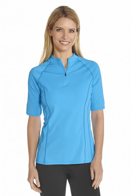Coolibar---UV-Swim-shirt-short-sleeve-women---Azure-Blue