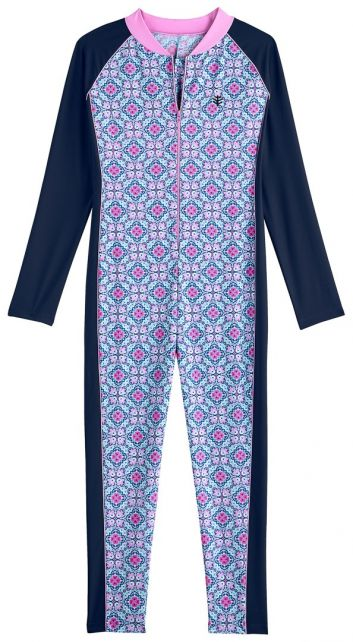 Coolibar---UV-swimsuit-for-girls---long-sleeve---Mosaïque---multi