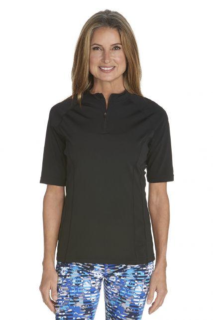 Coolibar---UV-Swim-Shirt-for-women---Freestyle-Rash-Guard---Black