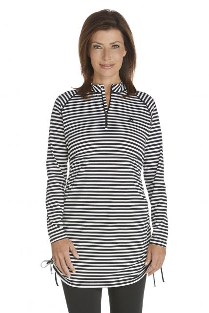 Coolibar---Ruche-Swim-Shirt---black/white-stripe
