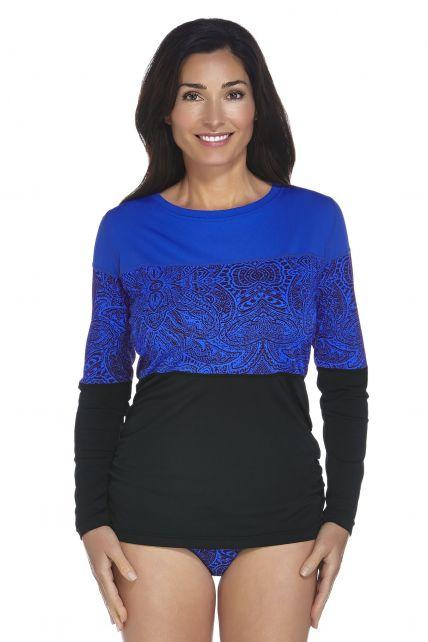 Coolibar---UPF-50+-Women's-Color-Block-Ruche-Swim-Shirt---Blue-Floral-Motif