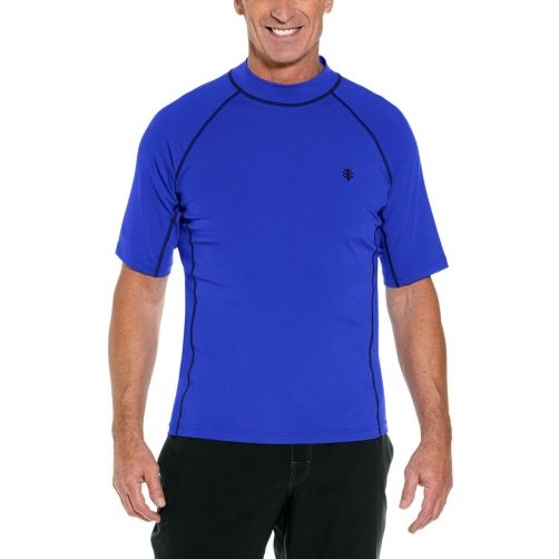 Coolibar---Men's-UV-swimshirt---short-sleeve---Cobalt-Blue