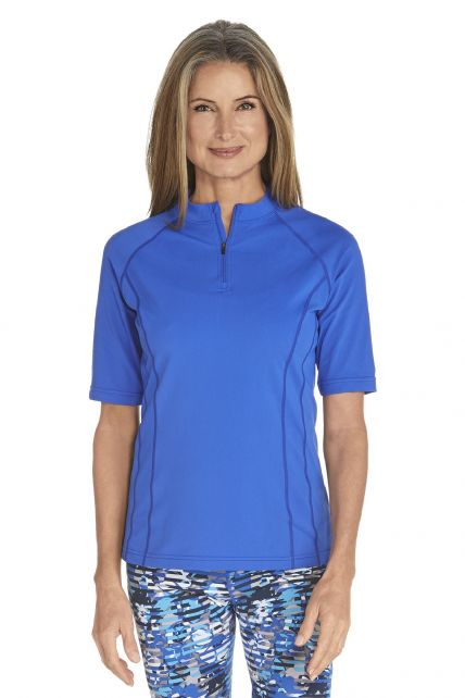 Coolibar---UV-Swim-shirt-short-sleeve-women---Kobalt-Blue