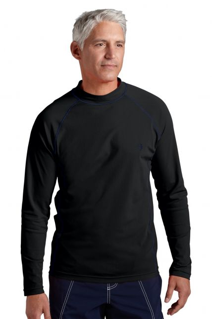 Coolibar---Men's-Long-Sleeve-Swim-Shirts---Black