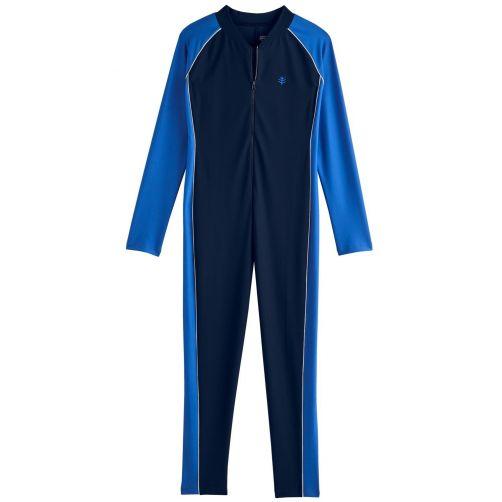 Coolibar---UV-swimsuit-for-boys---long-sleeve---Navy/Baja-Blue
