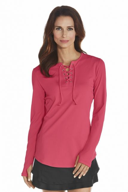 Coolibar---UV-Swim-shirt-with-lace---Coral