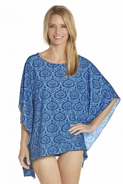 Coolibar---UV-Beach-poncho-women---Blue