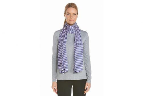 Coolibar---UV-sun-scarf---Dark-blue-/-white-stripes