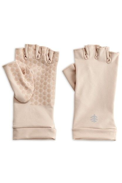 Coolibar---UV-resistant-fingerless-gloves---Beige