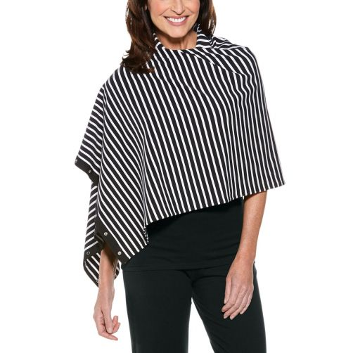 Coolibar---UV-resistant-convertible-shawl---Black/White-striped