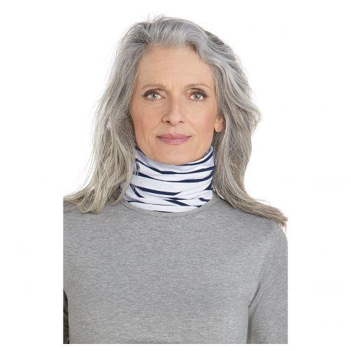 Coolibar---UV-neck-gaiter-unisex--Side-vents---Blue-/-white-stripes