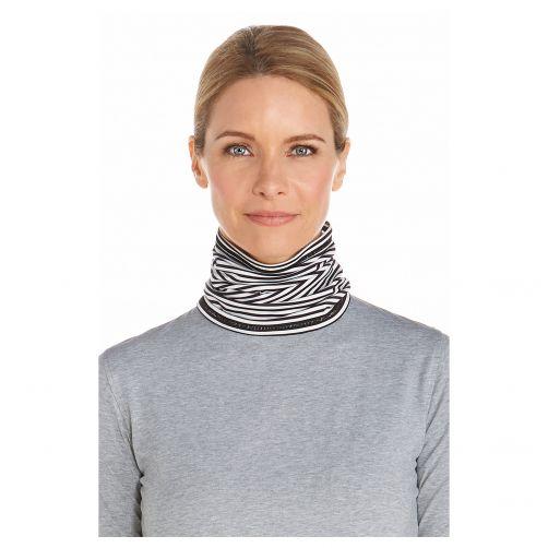 Coolibar---UV-neck-gaiter-unisex--Black-/-white-stripes