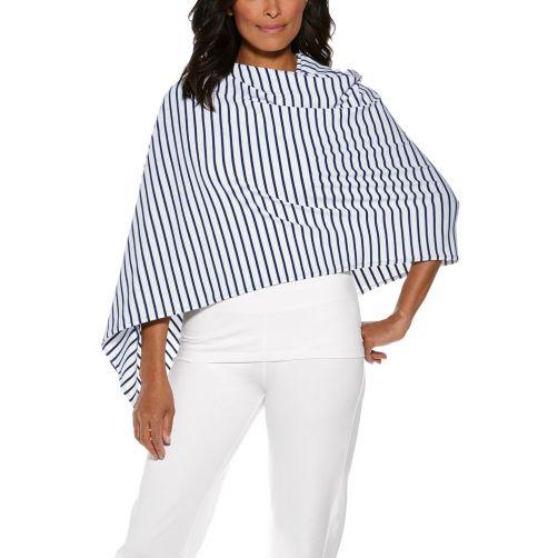 Coolibar---UV-sun-shawl-for-women---Navy/White-striped