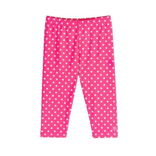 Coolibar---UV-capri-swim-leggings-for-kids---pink/white-polka-dots