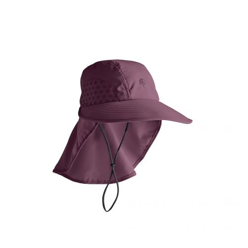 Coolibar---UV-cap-with-neck-protection-for-children---dark-purple