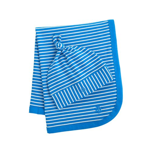 Coolibar---UV-baby-beanie-and-sun-blanket---blue/white-stripes