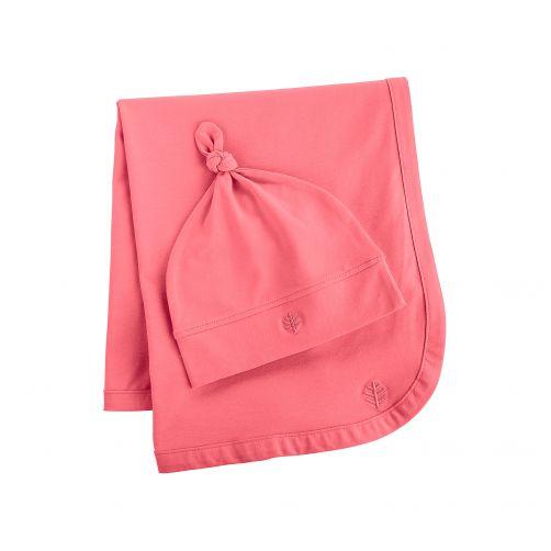 Coolibar---UV-baby-beanie-and-sun-blanket---pink