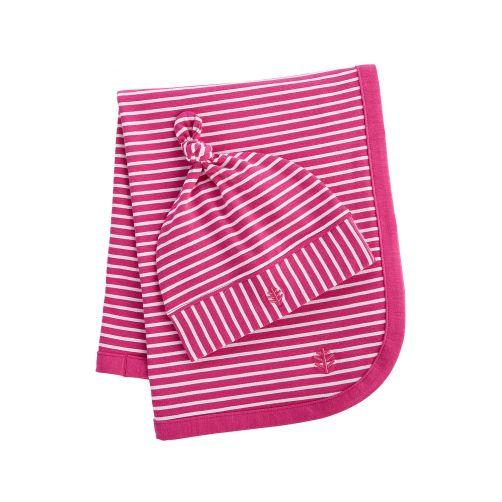 Coolibar---UV-baby-beanie-and-sun-blanket---magenta/white-stripes