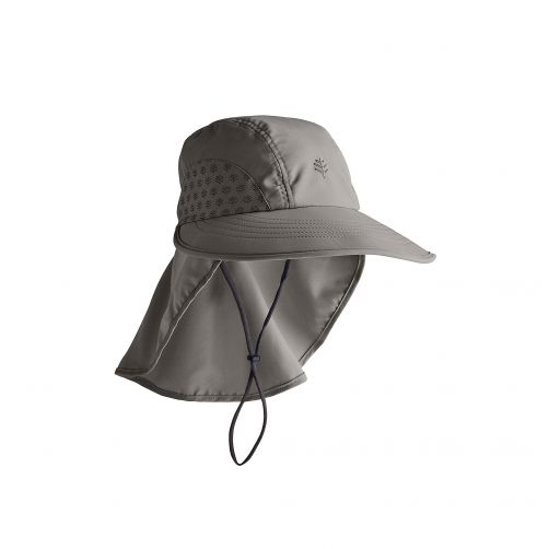 Coolibar---UV-cap-with-neck-protection-for-children---dark-grey